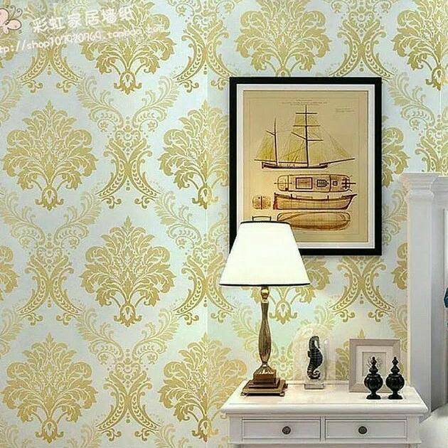 Detail Gambar wallpaper sticker dinding batik emas Terbaru