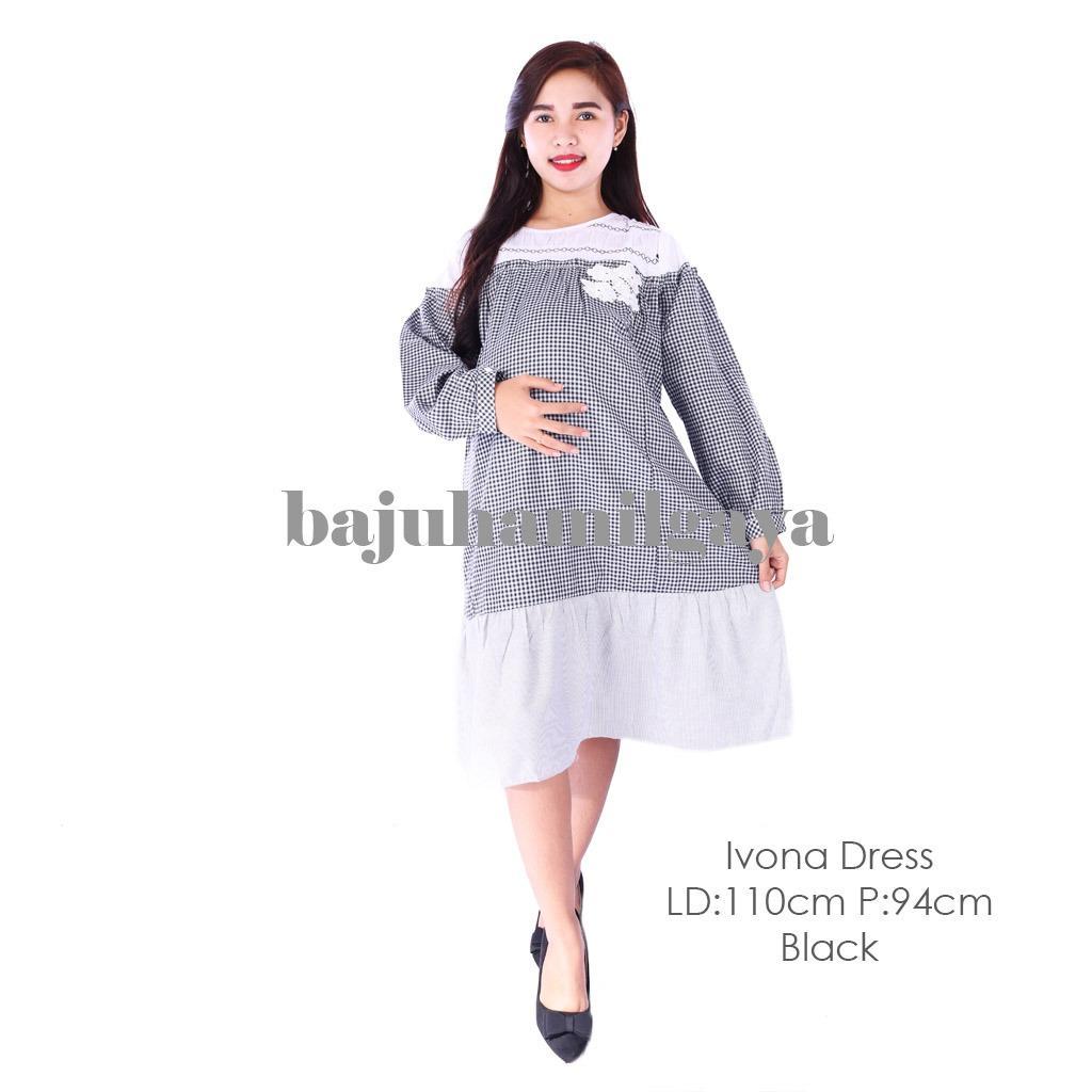 Baju Hamil Gaya Dress Hamil - IVONA DRESS BLACK - Terusan Hamil / Dress Menyusui / Baju Wanita Hamil / Baju Ibu Hamil Murah / Baju Hamil Murah / Baju Hamil Harga Murah / Baju Hamil Pesta / Baju Hamil Santai / Baju Hamil Kerja / Baju Kerja Hamil / Fashion