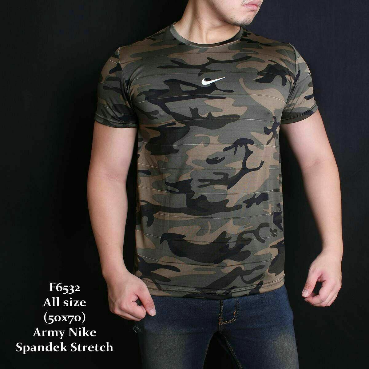 Kaos Army Lengan Pendek Pria - Tshirt TNI Loreng Militer Premium Motif Nike Hijau