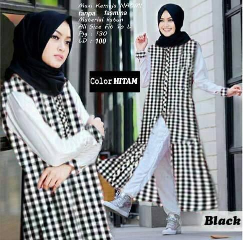 AG Apparel Maxi Naomi Hitam / Dress Muslimah / Hijab Muslim / Gamis Syari / Baju