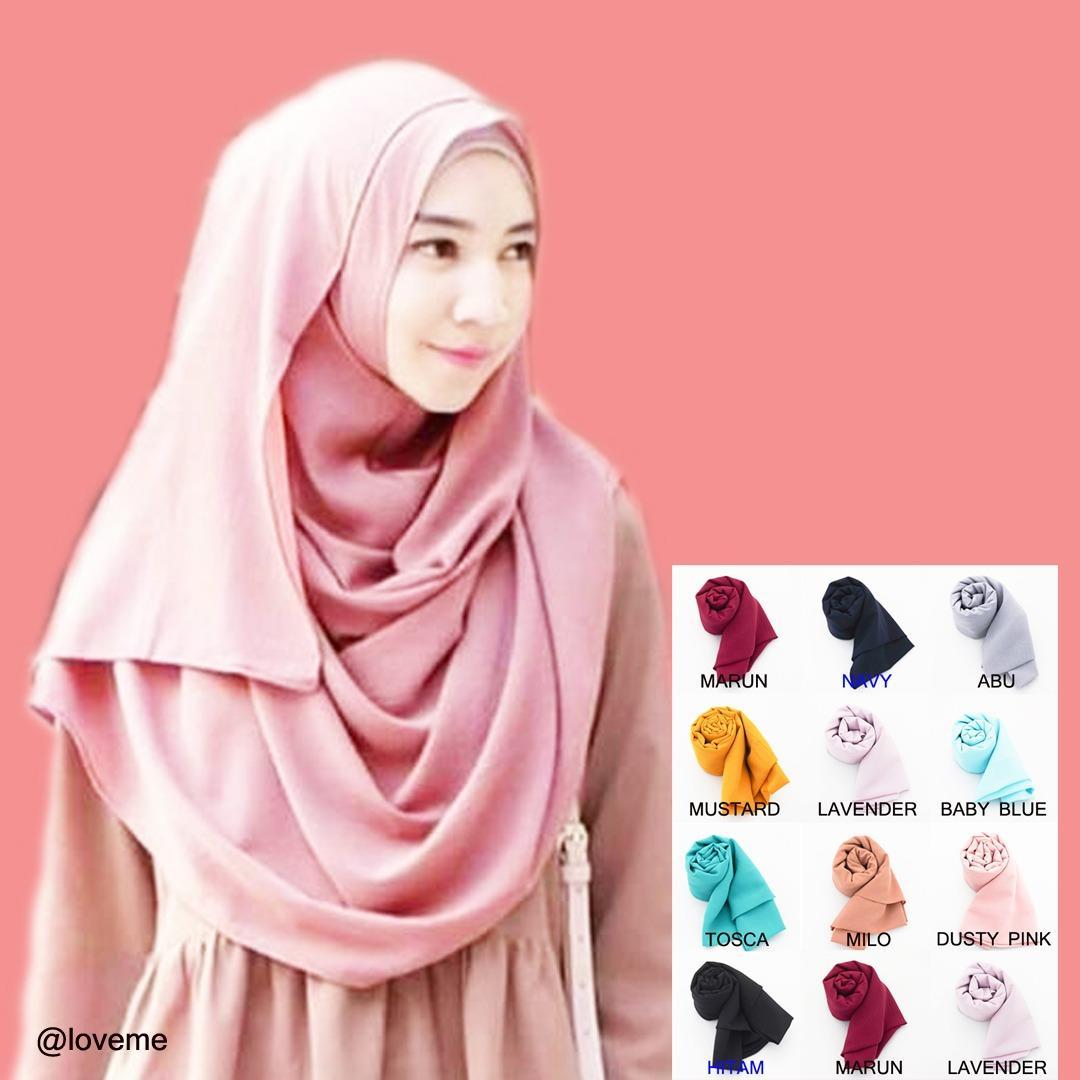 Loveme PROMO Hijab Instan Pasmina Pastan Jilbab Instan Kerudung Pashmina Polos 2 Layer