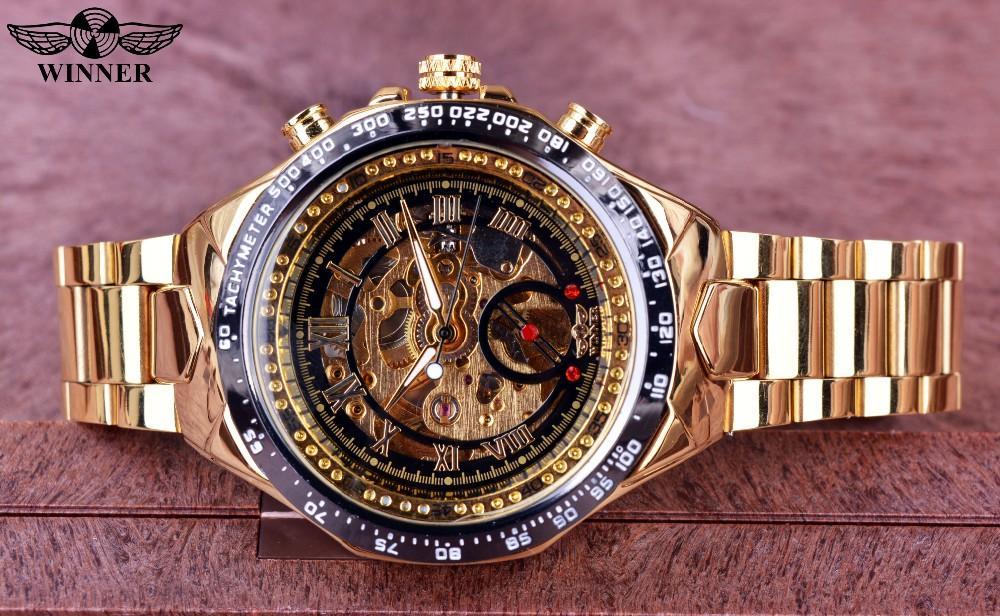 Gambar Produk Rinci WINNER Merek Mekanik Uhr Aviator Militer Skala Digital Dial Chronograph Desain Pria Clock Watch Leather Otomatis Jam Tangan-Intl Terkini