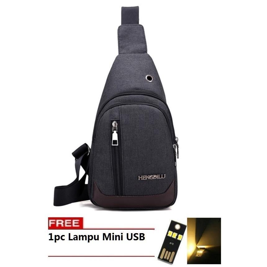 Harga Best Bag Tas Selempang Waterproof 501 Kanvas Men Sling Back Cowo Cewe Messanger Shoulder Bag Free Lampu Mini Usb Hitam Online