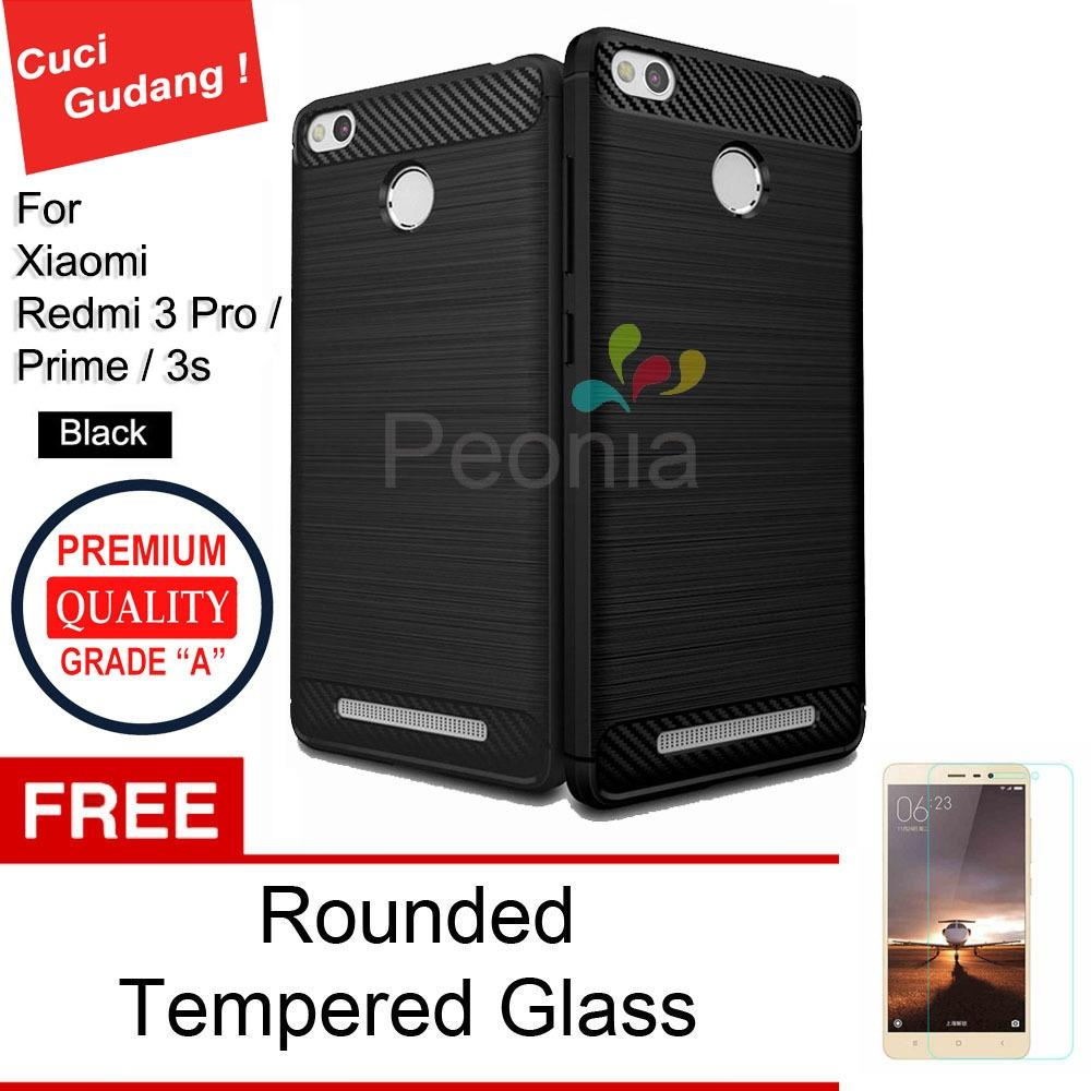 Peonia Carbon Shockproof Hybrid Premium Quality Grade A Case for Xiaomi Redmi 3 Pro / Redmi 3s (sama ukuran) - Hitam + Rounded Tempered Glass 2.5D bening