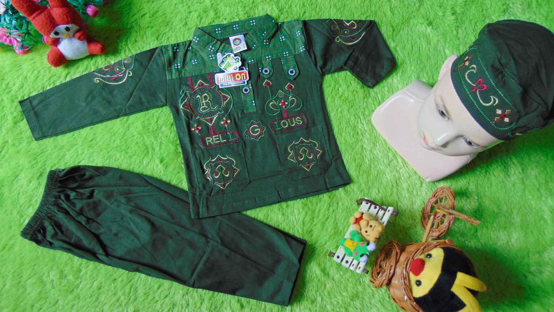 kembarshop - PLUS PECI setelan baju koko muslim anak bayi laki-laki newborn 0-