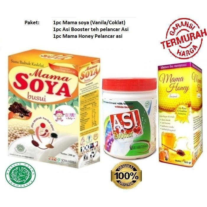 Paket Hemat 1pc Mama Soya + 1pc Asi Booster Tea + 1pc Madu Mama Honey -