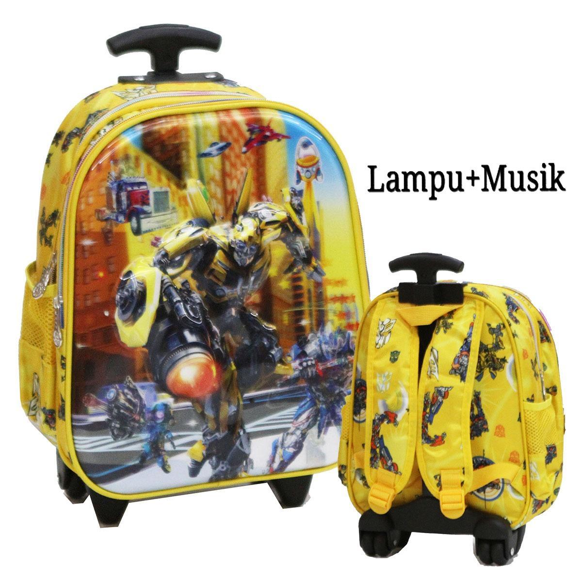 Diskon Besaronlan Tas Trolley Anak Sekolah Tk Transformers Lampu Music 5D Timbul Import