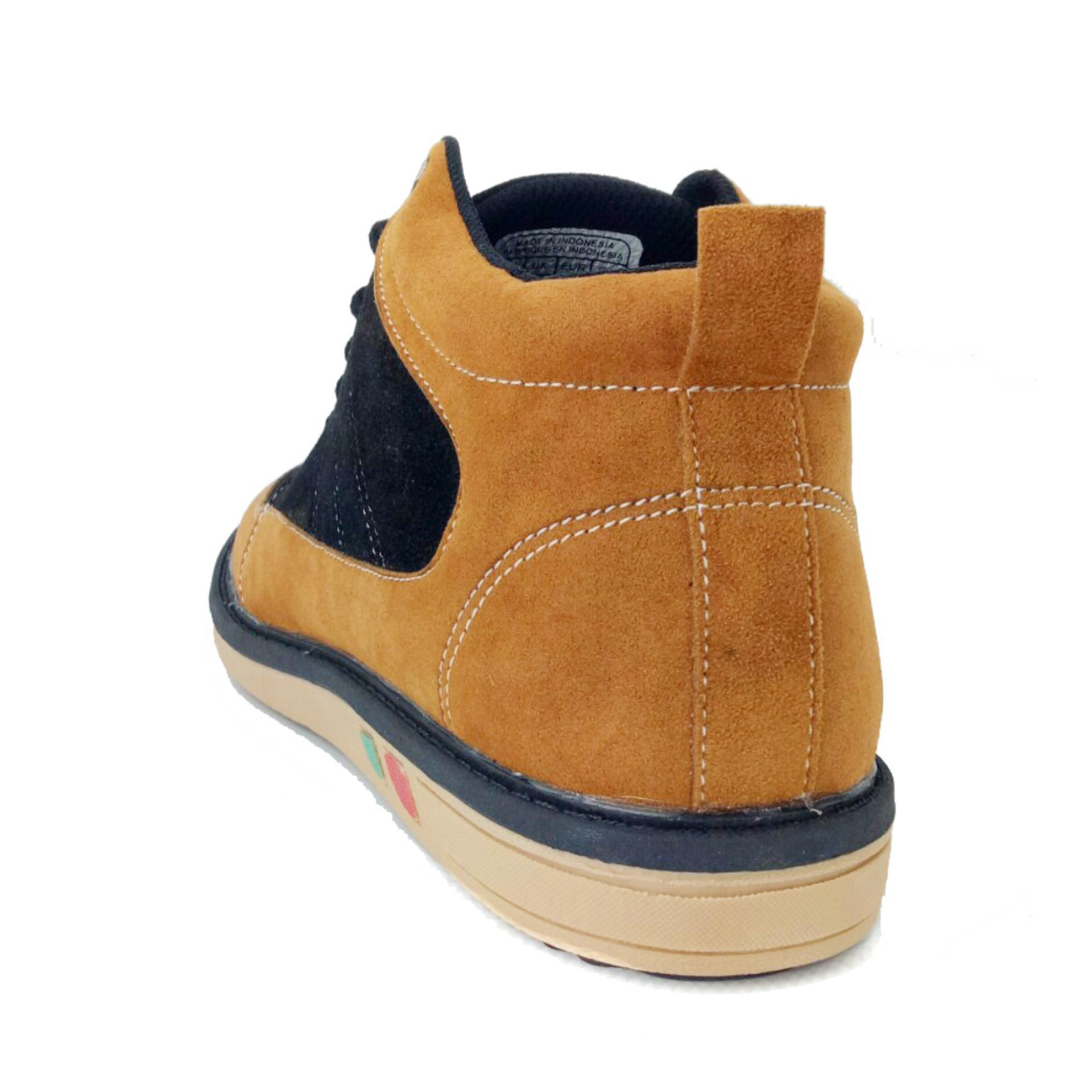 ... Garsel GUD 1040 Sepatu Sneaker Pria - Synth - Keren (Hitam-Coklat) ...