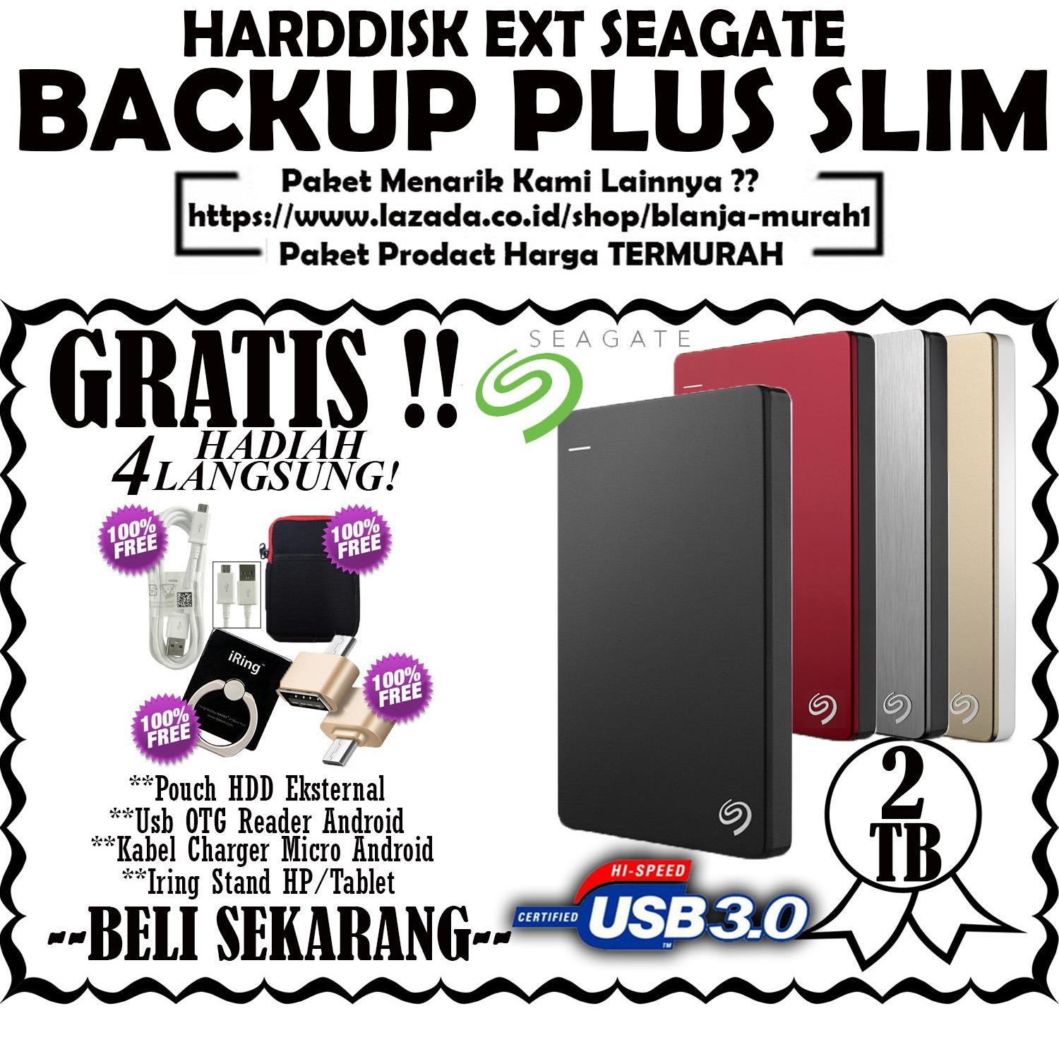 Beli Seagate Backup Plus Slim 2Tb Hdd Hd Hardisk External 2 5 Gratis Pouch Hdd Kabel Charger Micro Android Usb Otg Reader Android Iring Stand Hp Tablet Seagate