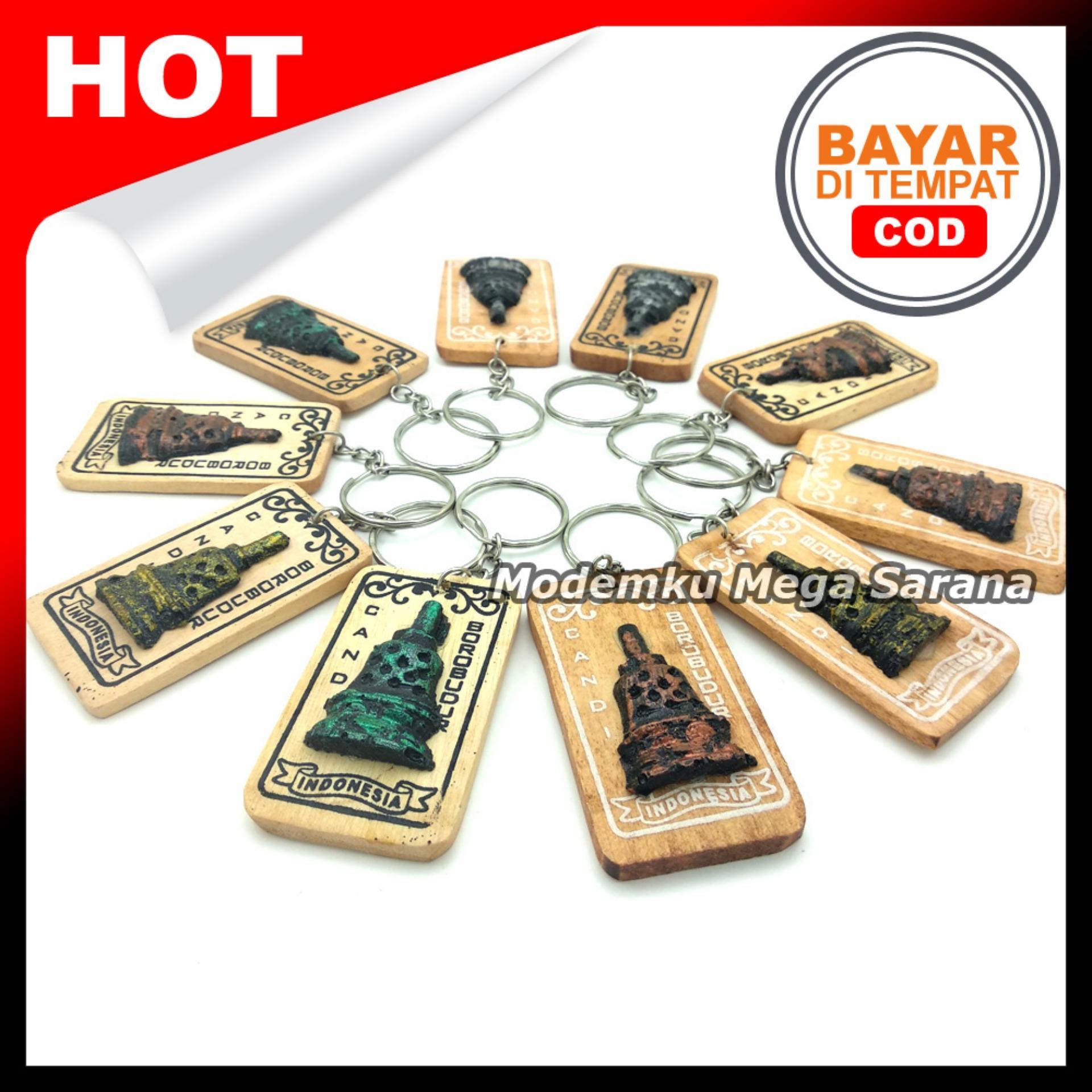 Souvenir Gantungan Kunci Jogja GTK22 - Candi Borobudur Kayu - isi 20pcs