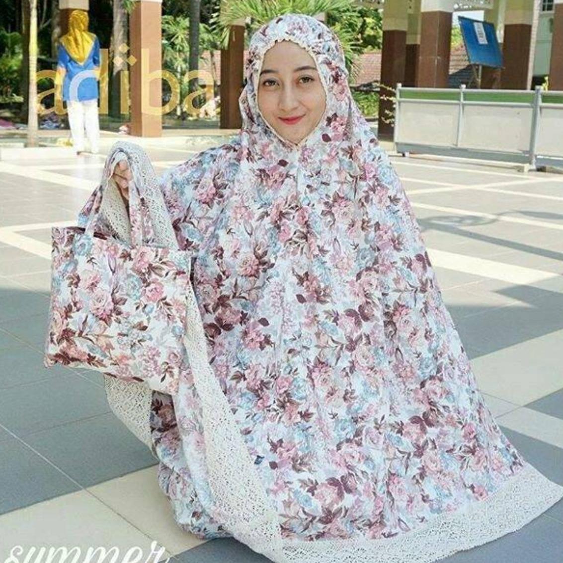 Jual Aneka Mukena Model Terbaru Spandek Lace Katun Jepang Pink