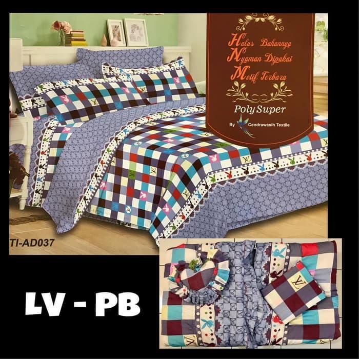 Natasha Bedcover Motif Branded LV + Sprei Ukuran King Size 180X200