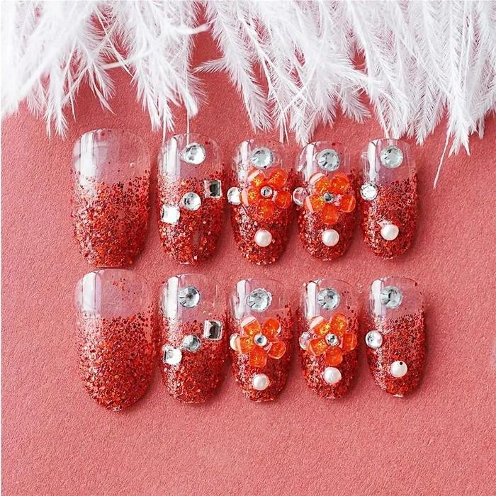 a04 merah bungga KUKU PALSU NIKAH WEDDING FALSE NAIL / NAIL ART / WEDDING MURAH hiasan