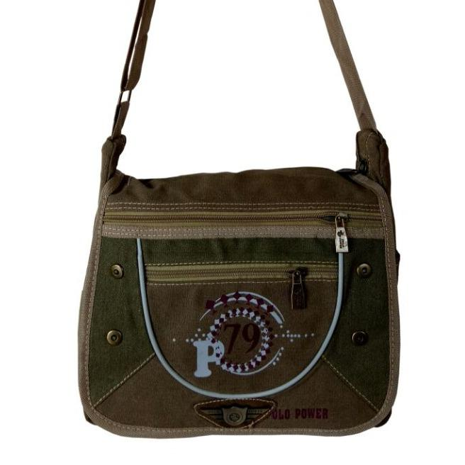 Polo Power Tas Selempang Canvas Shoulder Bag 08004 12 Rbs Hijau Army Polo Power Diskon 50