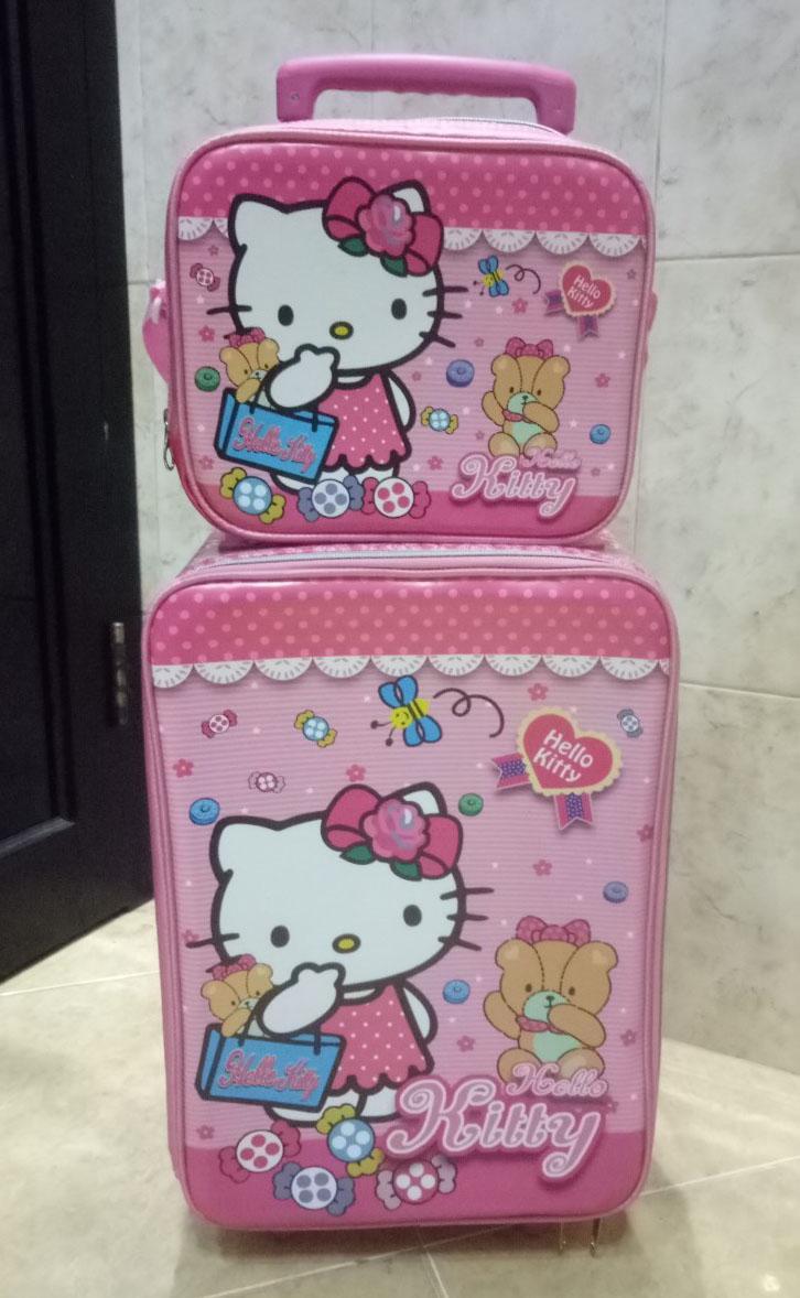 ... Onlan Hello Kitty Set Koper Lunch Bag Anak Bahan Kain Sponge Tahan Air New Arrival -
