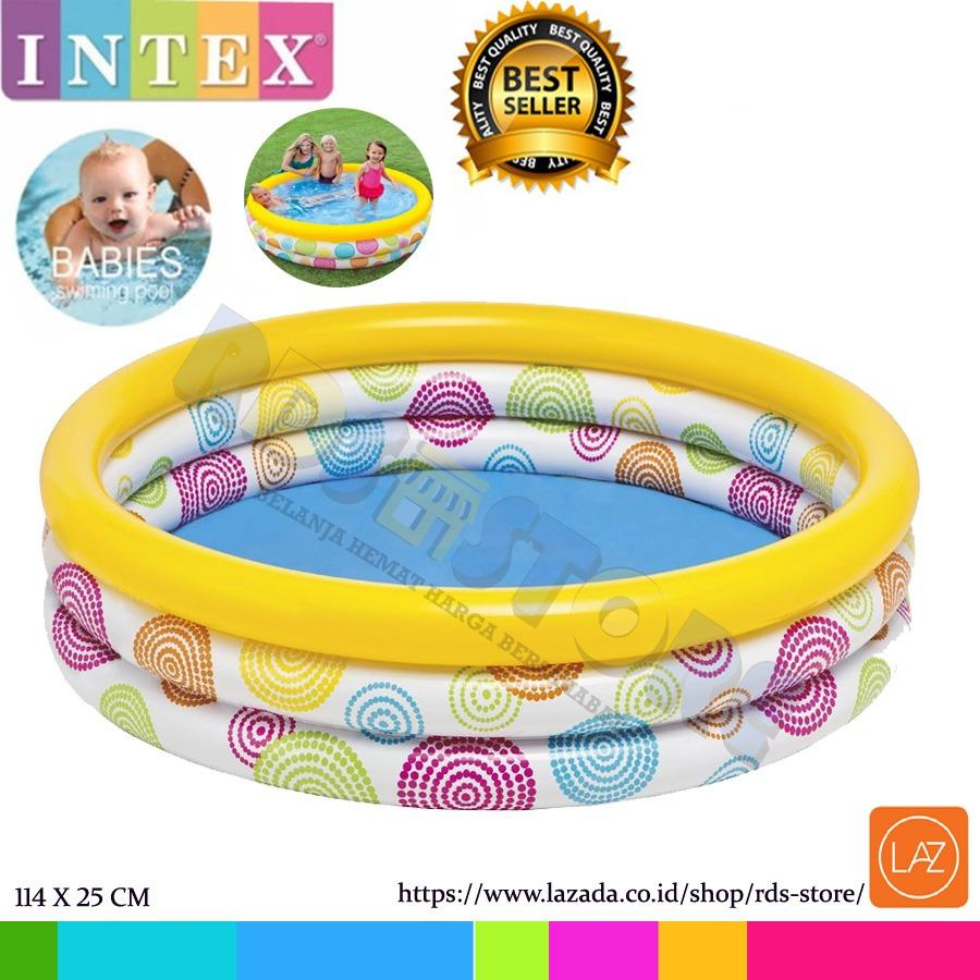 Jual Intex Kolam Renang Karet Anak Wild Geometry Pool 114Cm X 25Cm Branded Original