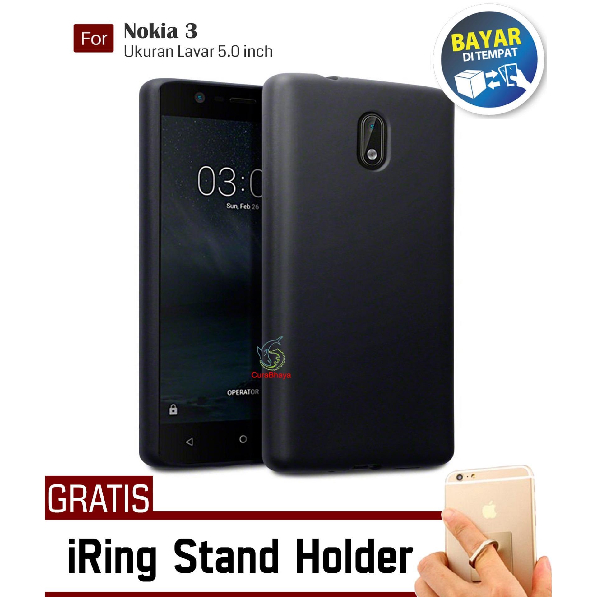 MidNight Nokia 3 | Slim Case Black Matte Softcase Premium Baby Skin + Gratis Free iRing