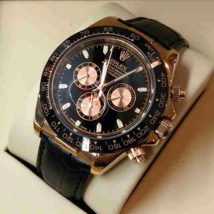 jam tangan rolex daytona tali kulit & gc / AC / fossil )