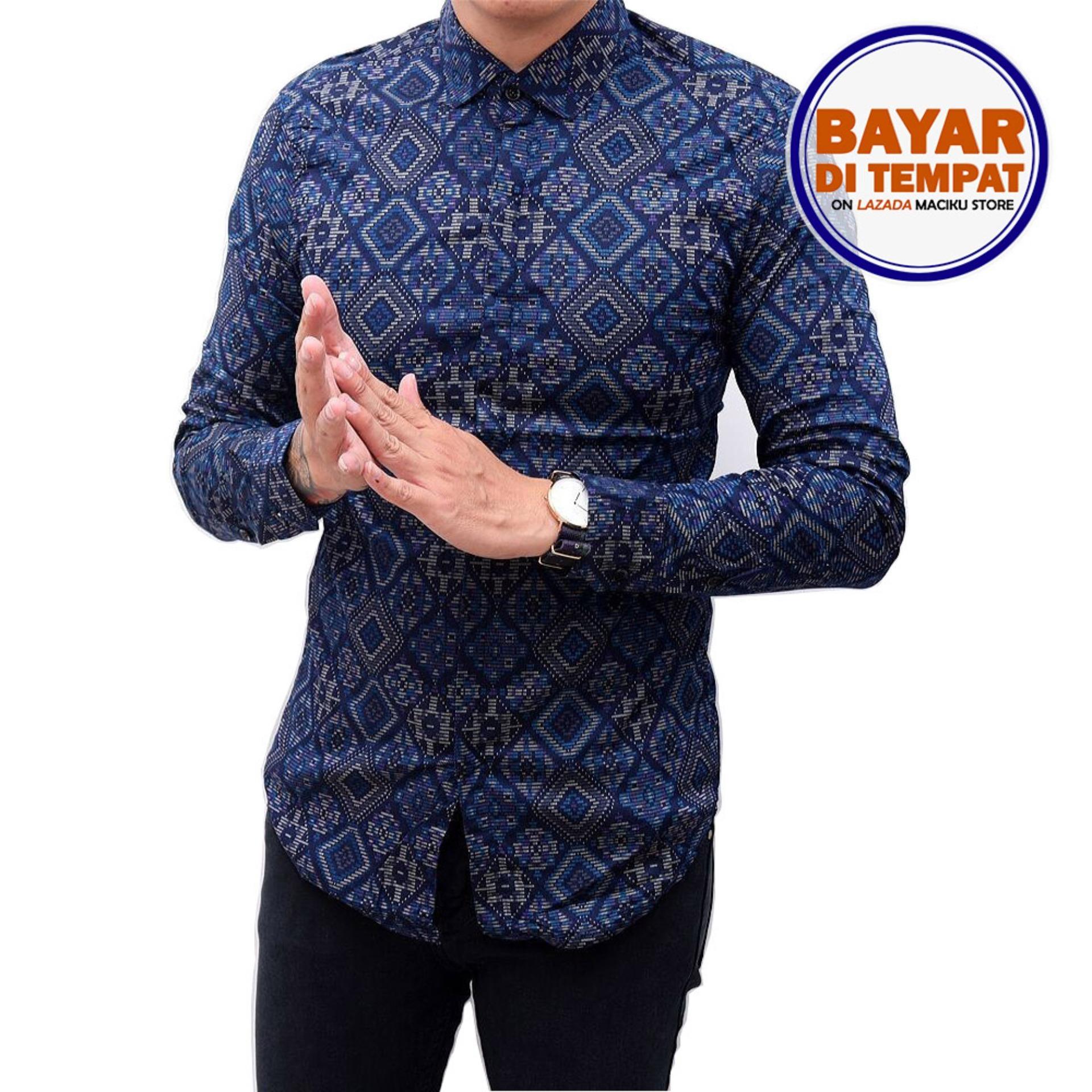 Cuci Gudang Kemeja Batik Songket Pria Panjang Kerja Kantor Slimfit Baju Batik Navy