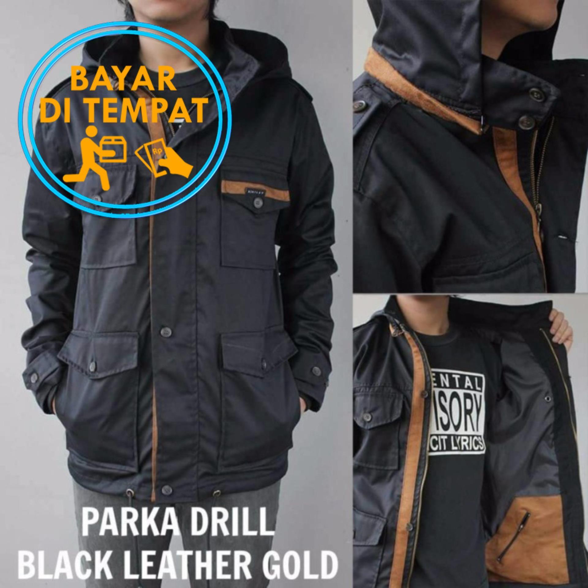 Jual Jaket Murah Parka Drill Pria Premium Black Tan Hitam Branded Murah
