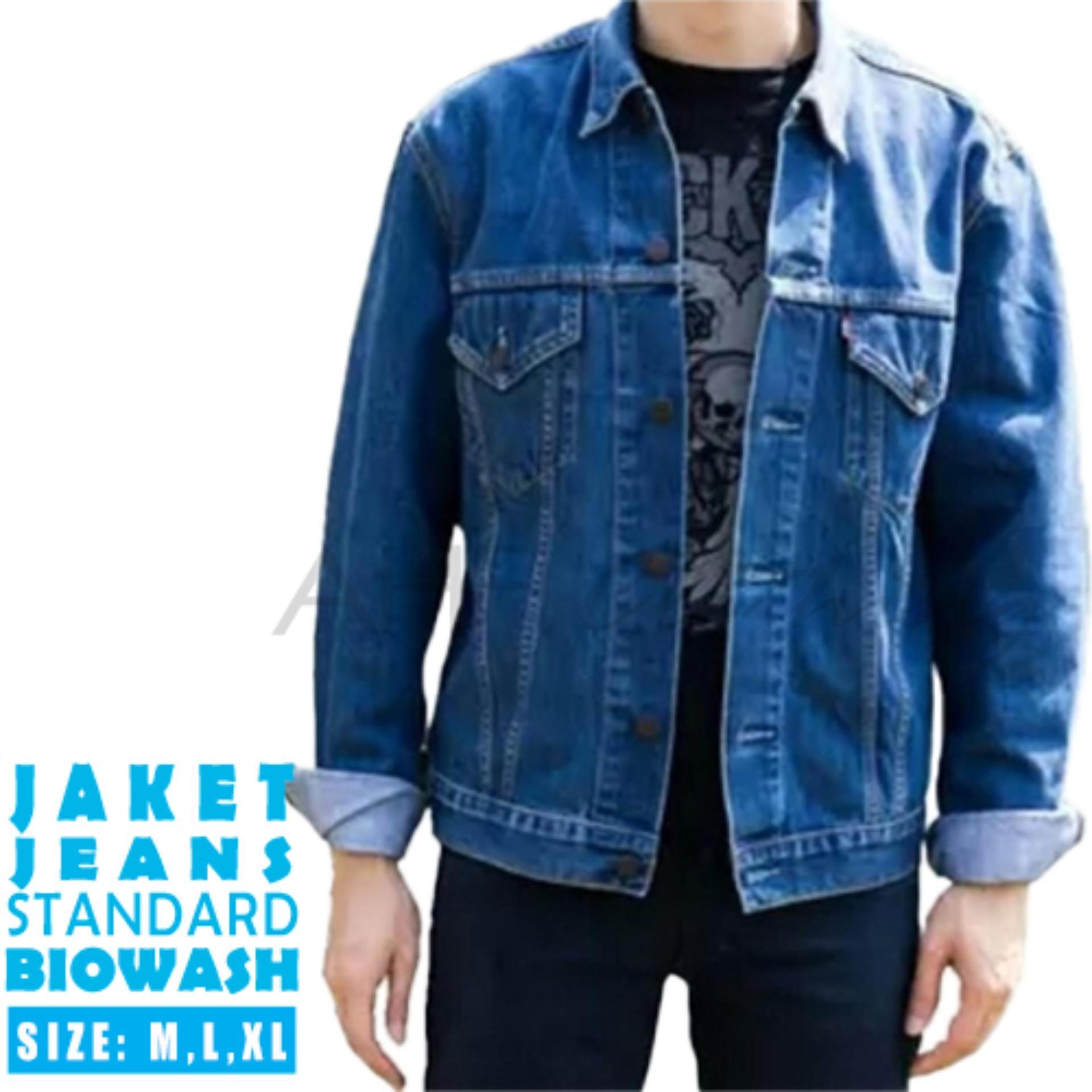 AHF Jaket Jeans Denim Pria  - Biru (BioWash)