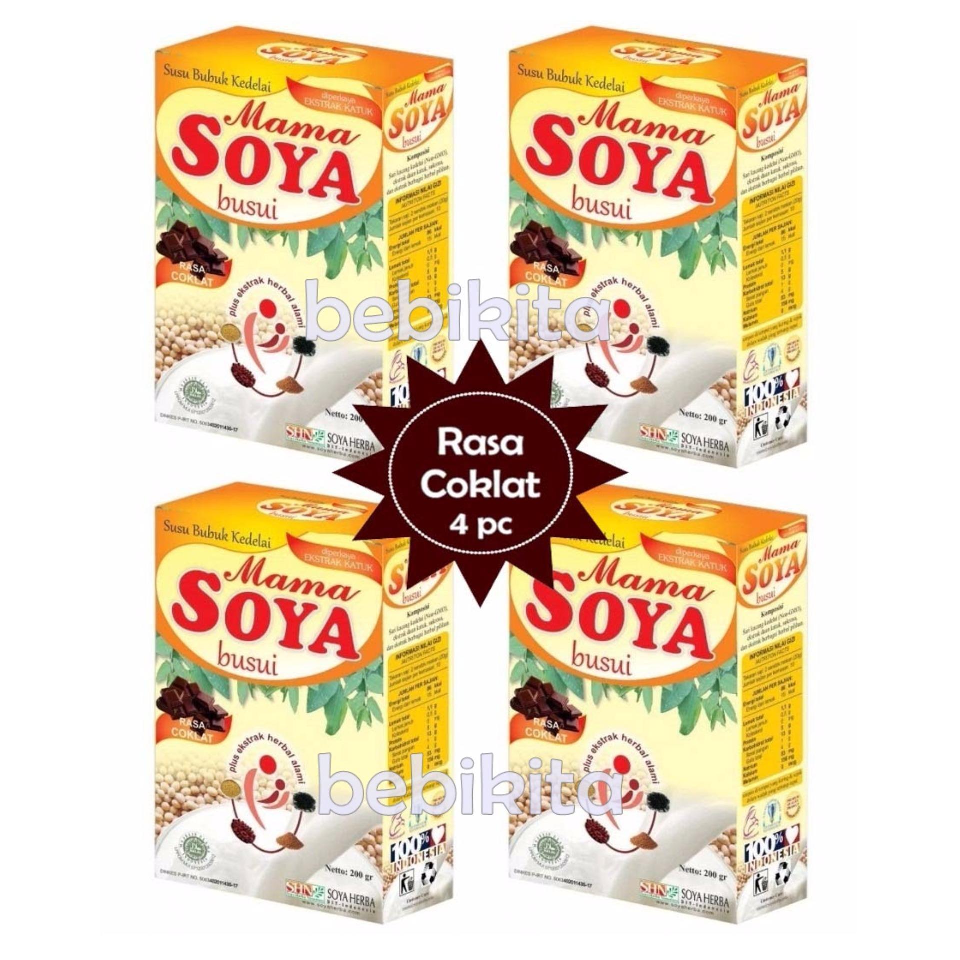 Spesifikasi Mama Soya Susu Pelancar Asi Booster Rasa Coklat 200 Gr 4 Pcs Yang Bagus