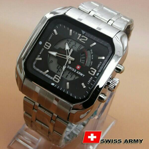 Review Terbaik Swiss Time Army Fashion Indigo Dual Time Jam Tangan Pria Strap Rantai Sa 4555 Mb