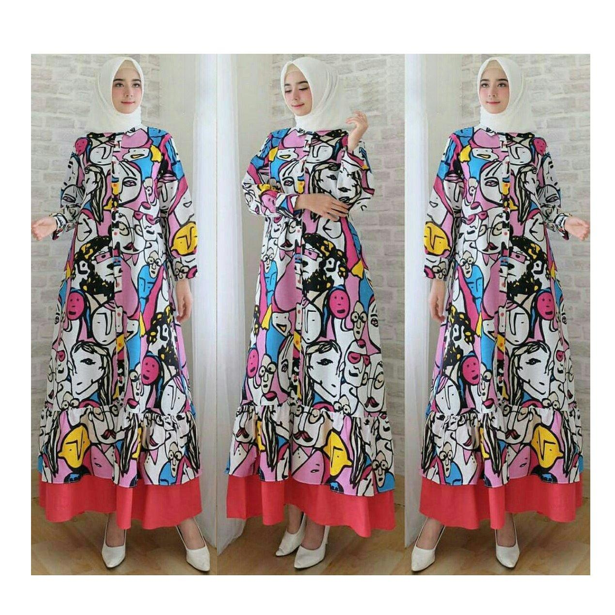 Review Trendshopee Gamis Maxy Colour Face