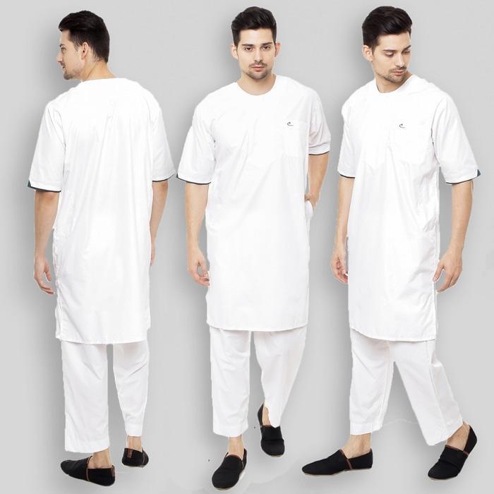 SETELAN Gamis ARABI Pria / Pakaian Muslim Pria Tangan Pendek Al-Isra