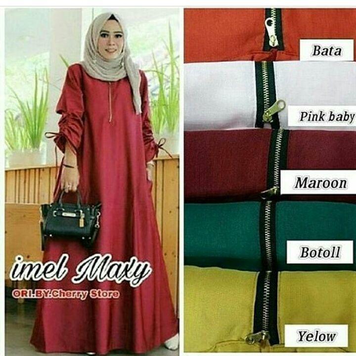 Baju Original Imel Maxi Dress Muslim Modern Panjang Hijab Fashion Perempuan Casual Gamis Pakaian Wanita Terbaru Tahun 2018