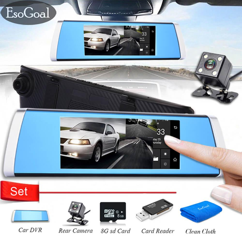 Jual Esogoal 7 Touch Screen 1080P Hd Front And Rear Dual Lens Touch Driving Recorder Night Vision Car Dvr Camera Recorder And Micro C 10 8G Memory Card And Usb 2 Sd Card Reader Baru
