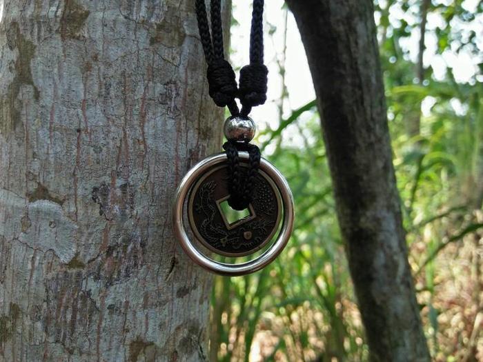 ... Kalung Tali Bandul Koin Ring Silver - 3