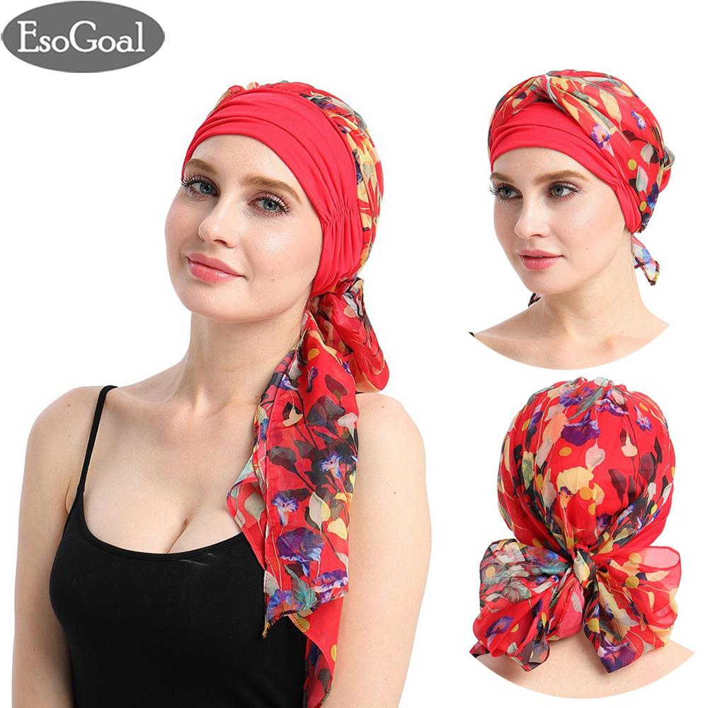 Beli Esogoal Women Indian Muslim Stretch Turban Hat Long Hair Head Scarf Scarves Hijab Headwraps Chemo Headwear Hats Terbaru