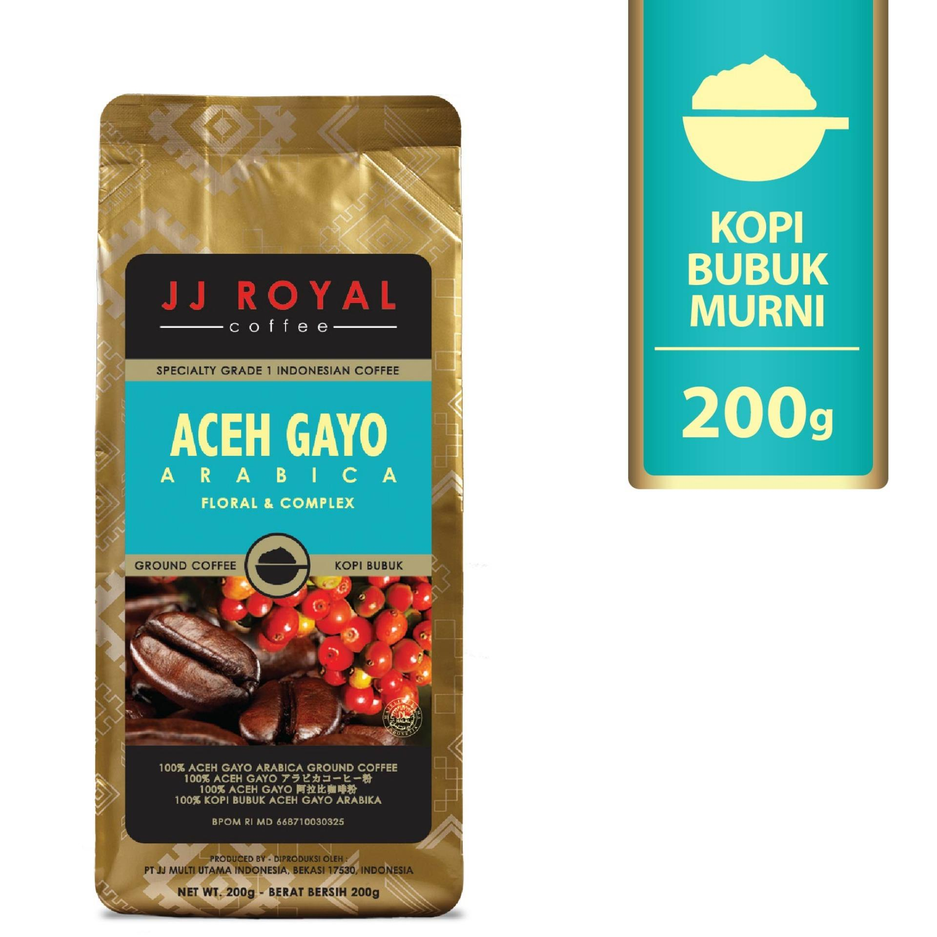Jj Royal Coffee Aceh Gayo Arabica Ground Kopi Bubuk 200Gr Jawa Barat