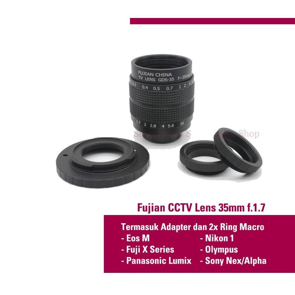 Lensa Manual mirrorless Fujian 35mm f1.7 CCTV Lens (Swirly Bokeh) buat sony Nex emount, Canon eosm, lumix,Olympus,Nikon, Fuji, m43 Bukan Yongnuo Meike
