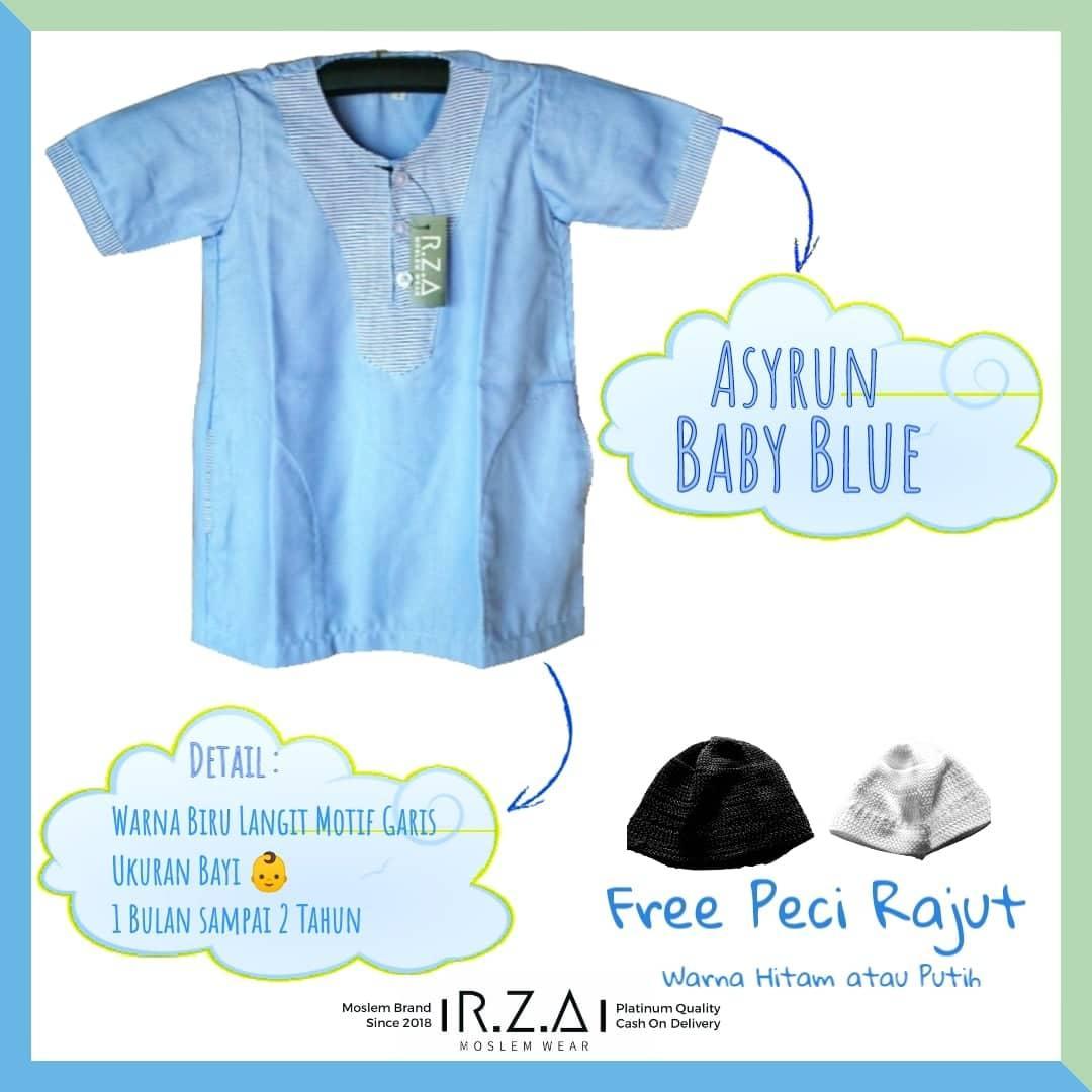 RZA MW Gamis Jubah Anak Seri ( Asyrun Baby Blue ) Lengan Pendek Warna Biru Muda
