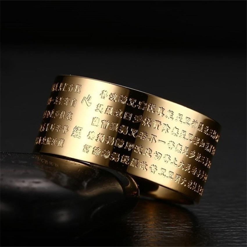Perbandingan Harga Cincin Perhiasan For Wanita Dan Pria 316 Liter Stainless Steel18K Pelat Emas Buddha Cina Manuskrip Cincin Internasional Oem Di Tiongkok
