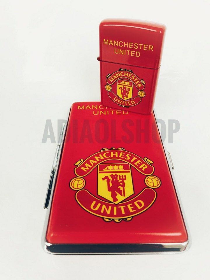 Combo Kotak Rokok Plus Korek Man United - Merah
