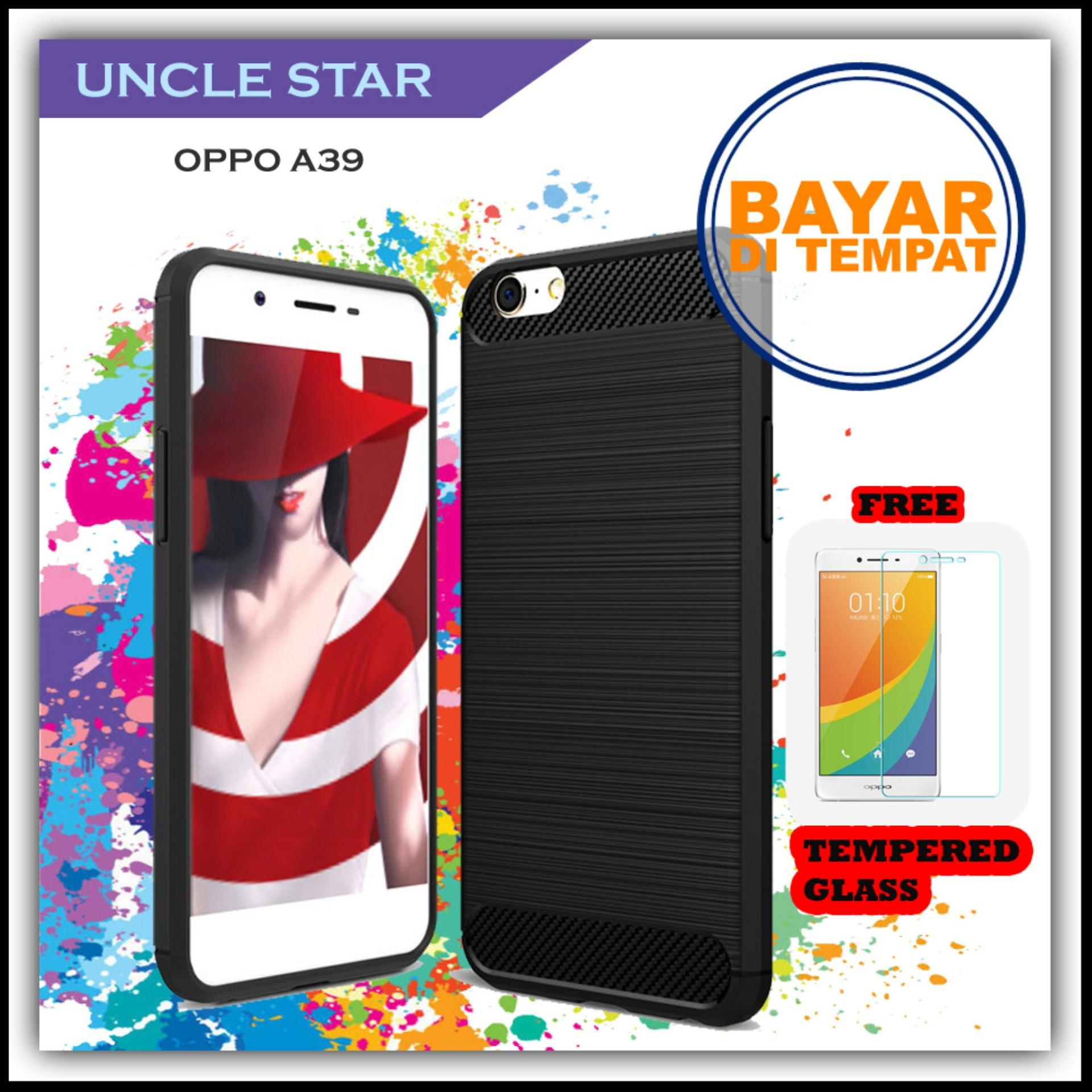 Uncle Star - Case Ipaky Carbon Fiber Shockproof Hybrid Elegant Case for Oppo A39 FREE TEMPERED