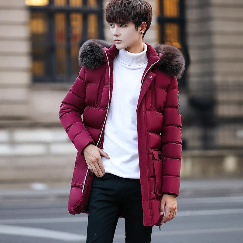 Musim dingin Jaket mantel katun pria musim dingin Lebih tebal model  setengah panjang Gaya Korea membentuk af7bd11a6a