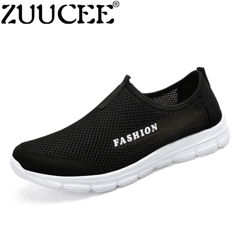 Zuucee Fashion Pria Slip-ONS Napas Low-Cut Sepatu Jaring Musim Panas Kain Shoes