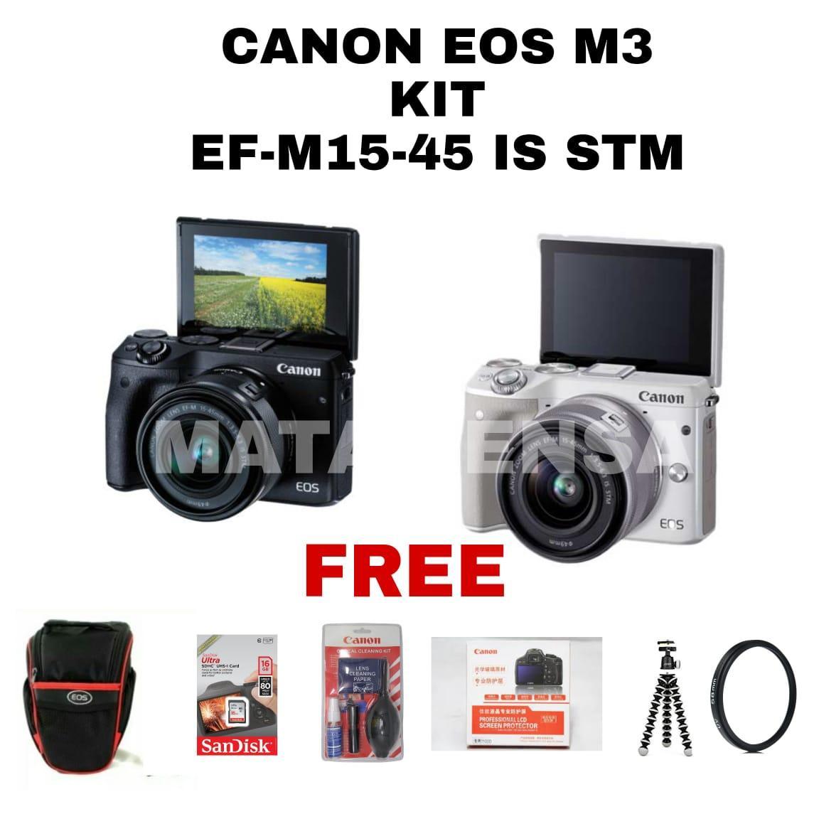Kelebihan Canon Eos M3 Kit 15 45 Mm Stm Terkini Daftar Harga Dan M10 45mm Is 18 Mp Hitam Promo Paket Lengkap Camera Kamera Lensa Ef M15