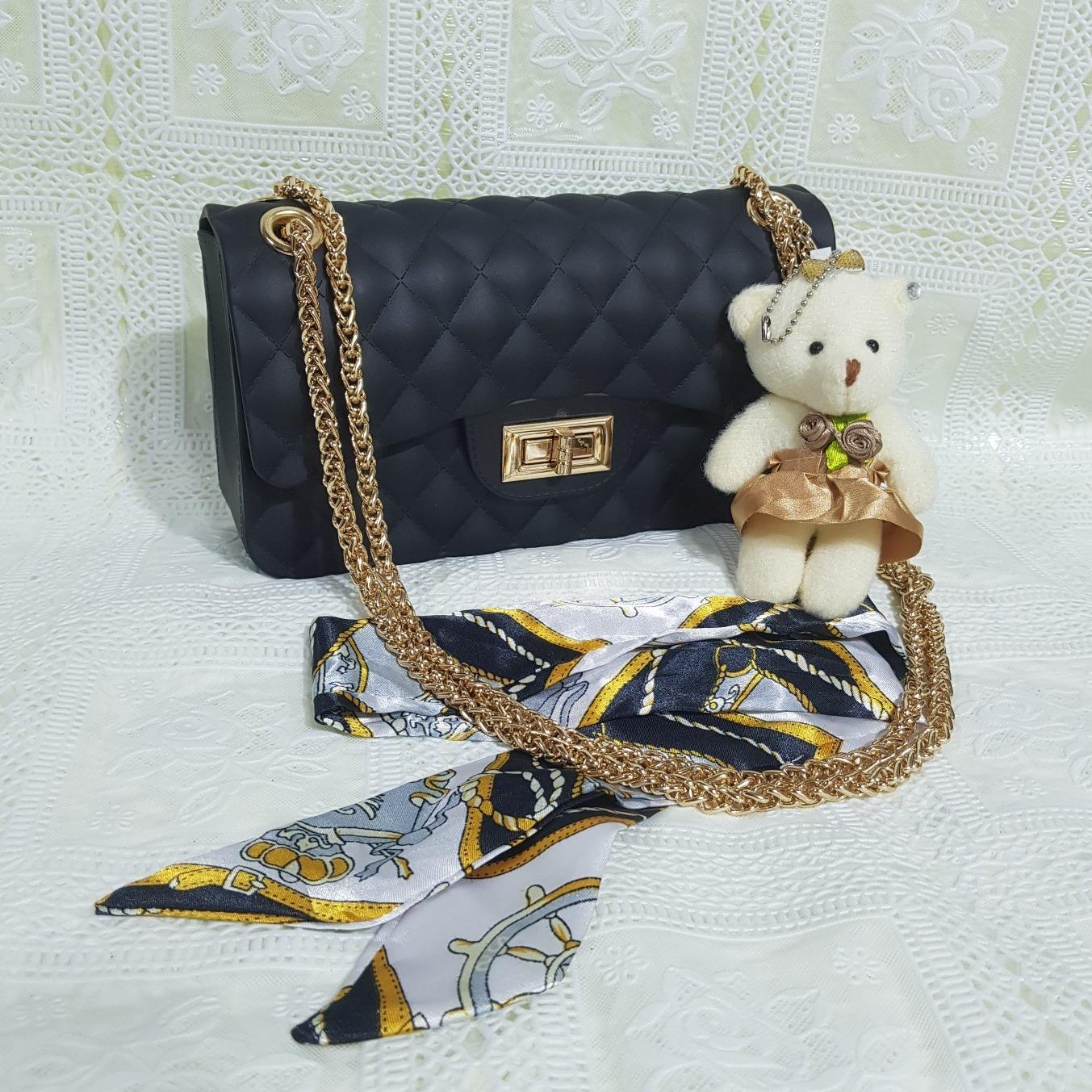 Jual Beli Online Tas Jelly Matte 22Cm Jely Clasik Bag Free Syal Boneka Jeli Garis Kotak Bisa Bayar Di Tempat