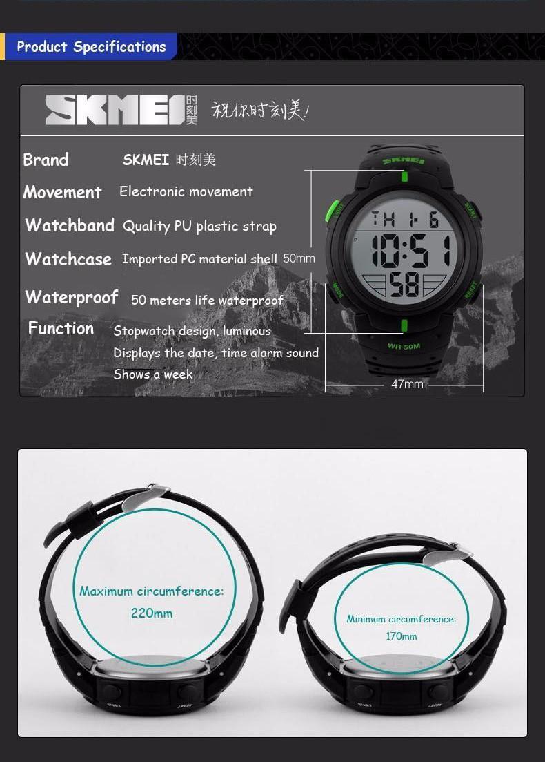 ... Great Skmei 1068 Jam Tangan Digital Sport Pria Water Resistant 50m Rubber Strap - Hitam ...