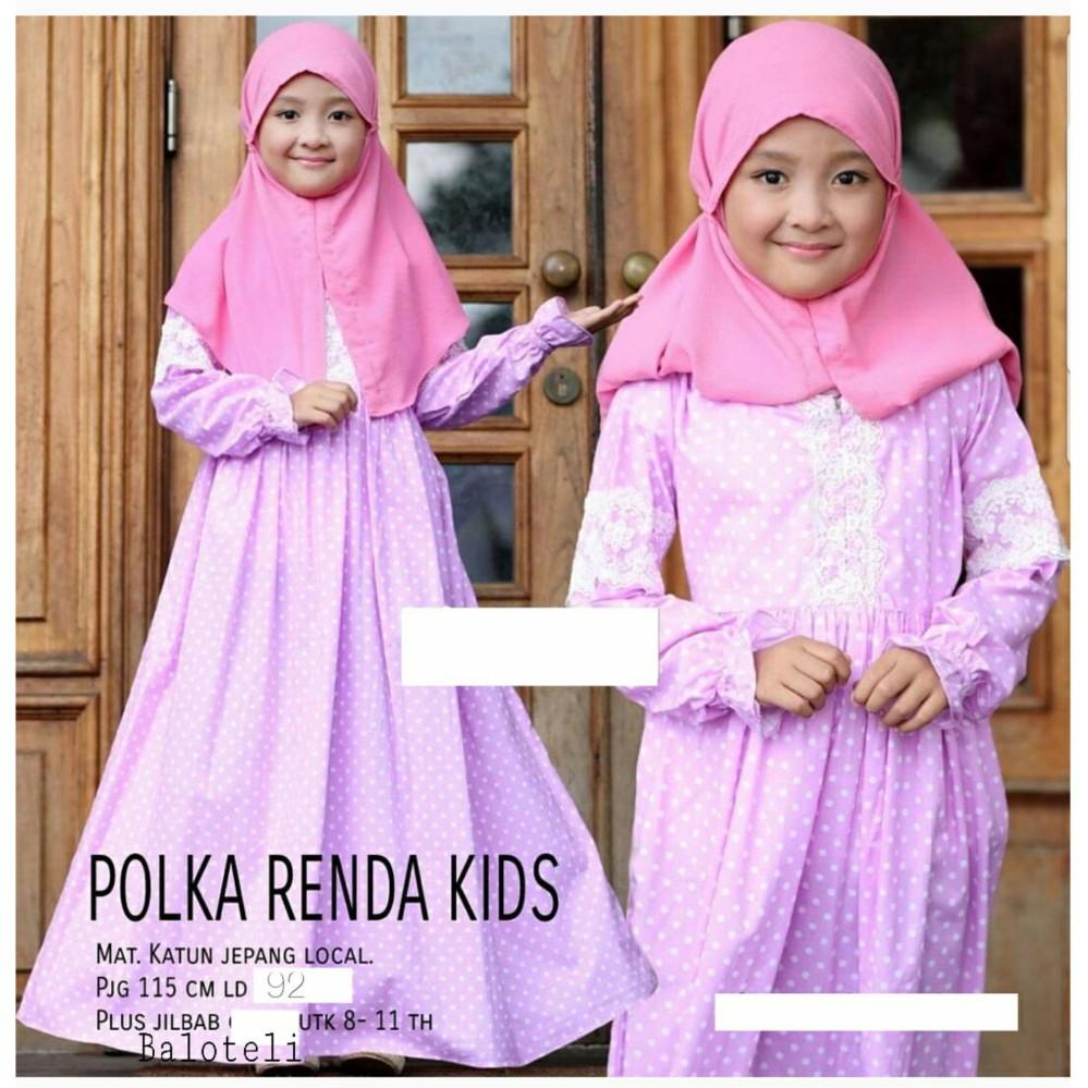 Pusat Jual Beli Pakaian Muslim Anak Perempuan Gamis Polka Renda Kid Dki Jakarta