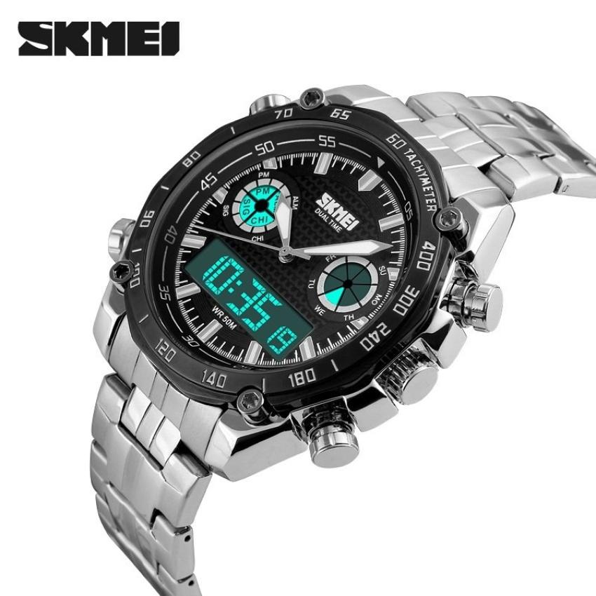 SKMEI Men Stainless Strap Watch Water Resistant WR Anti Air 30m AD1204 Jam .