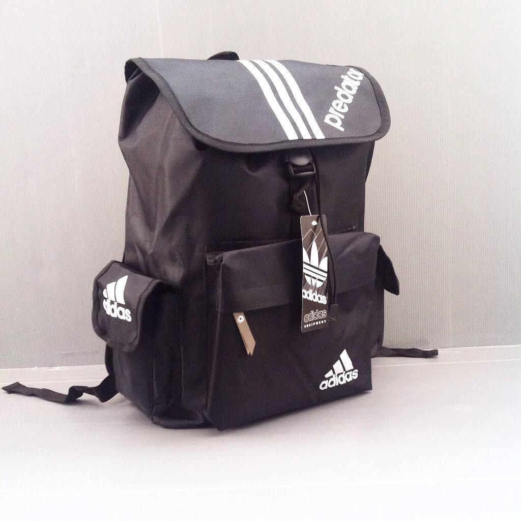 Fitur Tas Ransel Adidas Predator Sekolah Black White Punggung Detail Gambar Backpack Grosir Murah Terkini