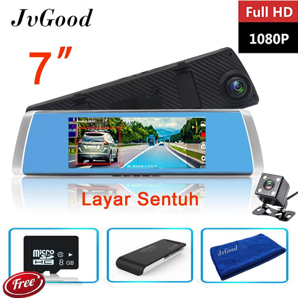 Jual Jvgood 7 Inch Touch Screen Dual Lens Mobil Kamera Car Kamera Rearview Mirror Kamera Camcorder Car Dvr Fhd 1080P Dash Cam Video Recorder With 8Gb Micro Sd Card Car Reader Microfiber Towel Murah