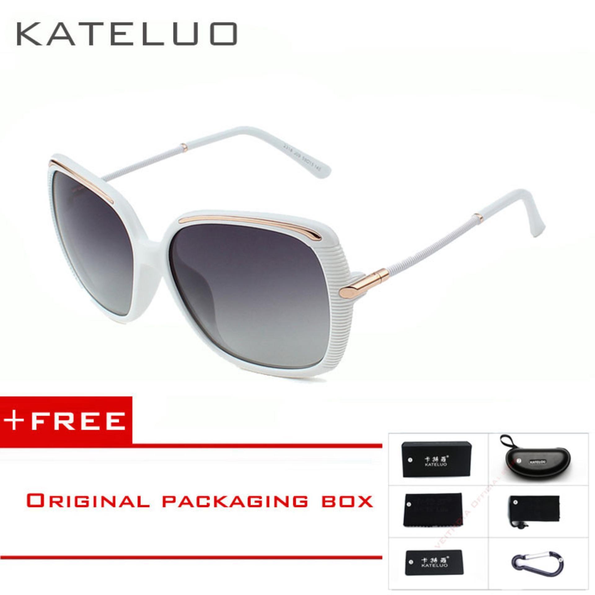 KATELUO Retro Kacamata Hitam Asetat Bingkai Cermin Lensa Terpolarisasi  Sopir Kacamata Matahari Kacamata Aksesoris untuk Wanita 232872075e