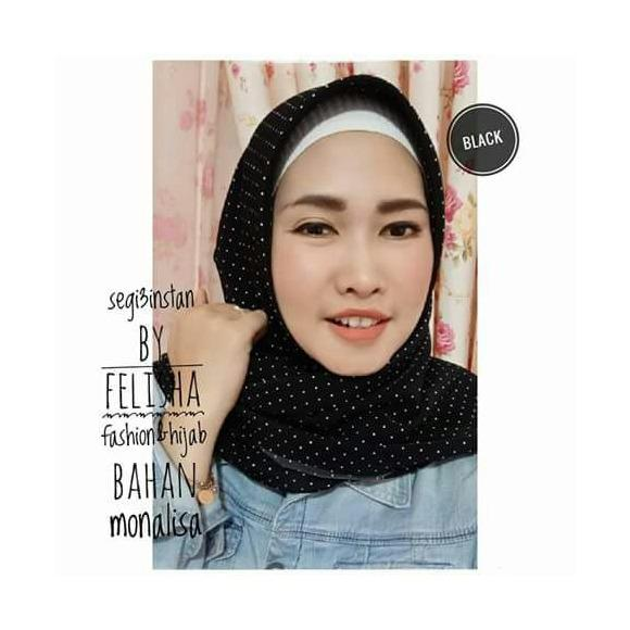 Spesifikasi Hijab Jilbab Kerudung Segi3 Instant Felisha Bahan Monalisa Polkadot Murah Berkualitas